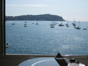 """Ahhhh... """"Beachfront Bliss,"""" indeed! Here's the view from the Riviera Experience flat I stayed in during my recent solo trip to the South of France. Don't I wish I could sit here forever and contemplate life...."""