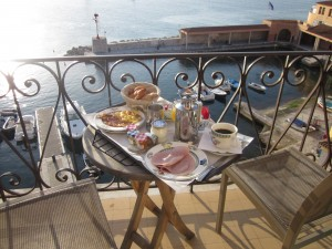 Talk about a treat -- an early-morning breakfast on the waterfront balcony at Villefranche's Hotel Welcome. Nothing like a view of the Mediterranean Sea to help put life in perspective!