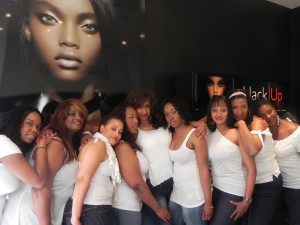 """Fleacé Weaver (center) and her made-up """"FlyGirls"""" after their fabulous afternoon – one created especially for THEM – at black