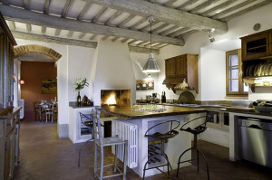 "Guests on SimpleItaly's ""Celebration of the Senses"" tour will learn to cook the Tuscan way in this gorgeous Villa Pippistrelli kitchen during a group cooking lesson."